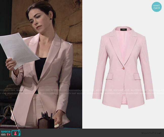 Etiennette B Blazer in Baby Pink by Theory worn by Victoria Newman (Amelia Heinle) on The Young & the Restless