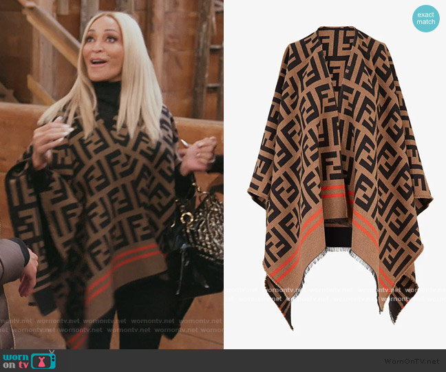 Poncho FF by Fendi worn by Karen Huger  on The Real Housewives of Potomac