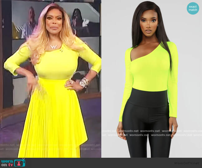 In The End Bodysuit - Neon Yellow by Fashion Nova worn by Wendy Williams  on The Wendy Williams Show