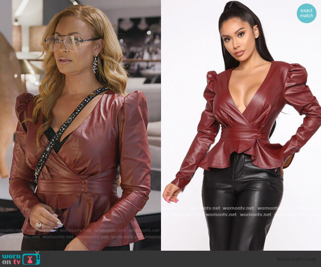 Girl In The City PU Leather Blouse by Fashion Nova worn by Gizelle Bryant  on The Real Housewives of Potomac
