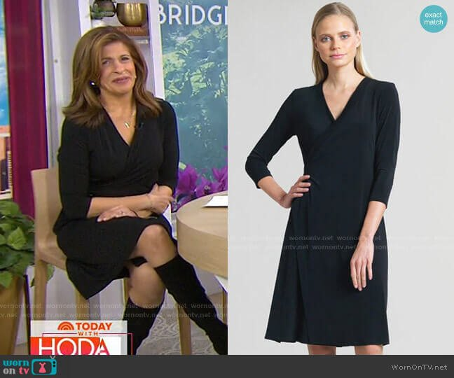 Faux Wrap V-Neck 3/4 Sleeve Dress by Clara Sunwoo worn by Hoda Kotb  on Today