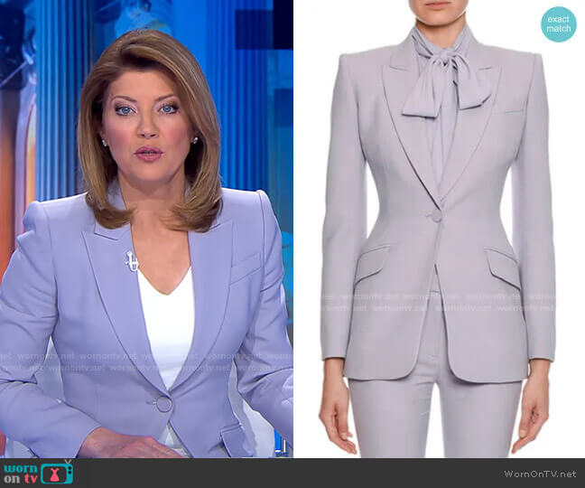 Fitted Flap-Pocket Wool-Silk Blazer by Alexander McQueen worn by Norah O'Donnell  on CBS Evening News