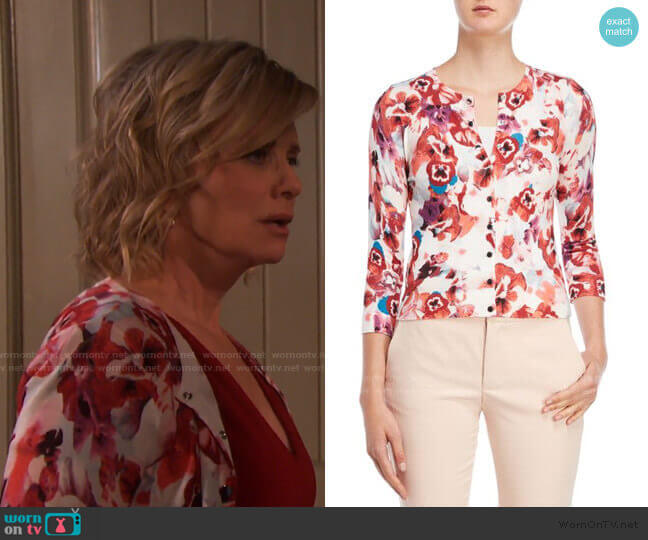Floral Cardigan by Karen Millen worn by Kayla Brady (Mary Beth Evans) on Days of our Lives