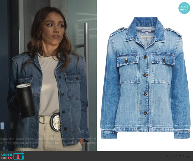 Button-detailed faded denim jacket by Frame worn by Nancy McKenna (Jessica Alba) on LA's Finest