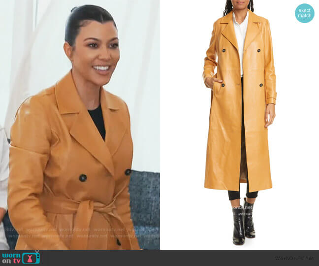 Leather Trench Coat by Frame worn by Kourtney Kardashian  on Keeping Up with the Kardashians