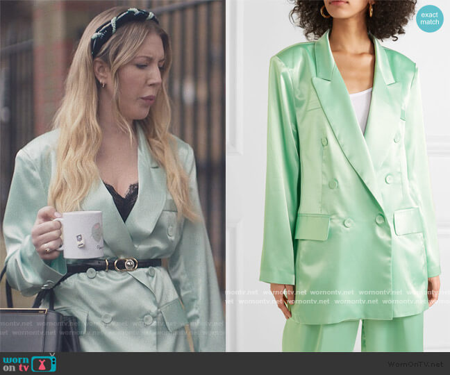 Karen double-breasted satin blazer and pants by Frankie Shop worn by Katherine (Katherine Ryan) on The Duchess