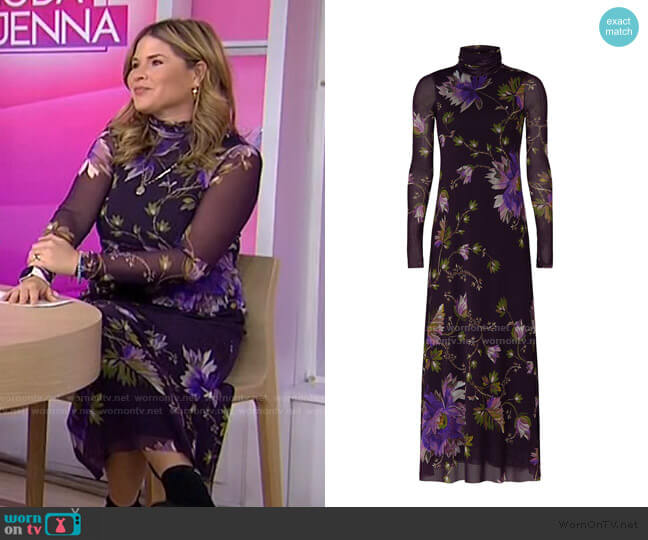 Plum Floral Dress by Fuzzi worn by Jenna Bush Hager  on Today