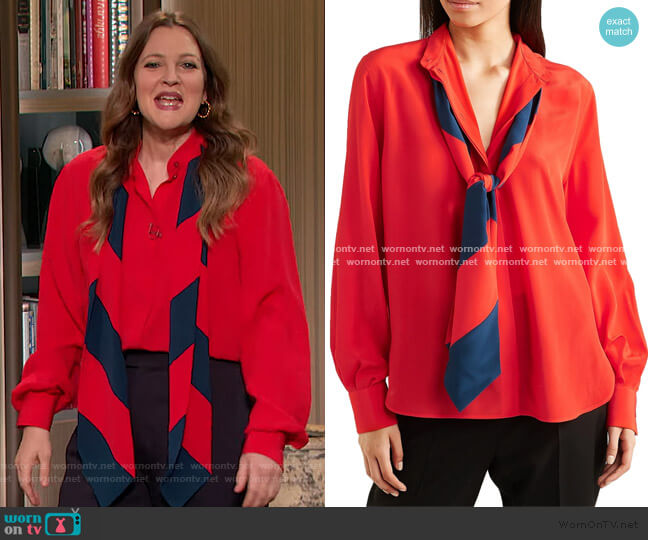 Pussy-bow silk crepe de chine blouse by Givenchy worn by Drew Barrymore  on The Drew Barrymore Show