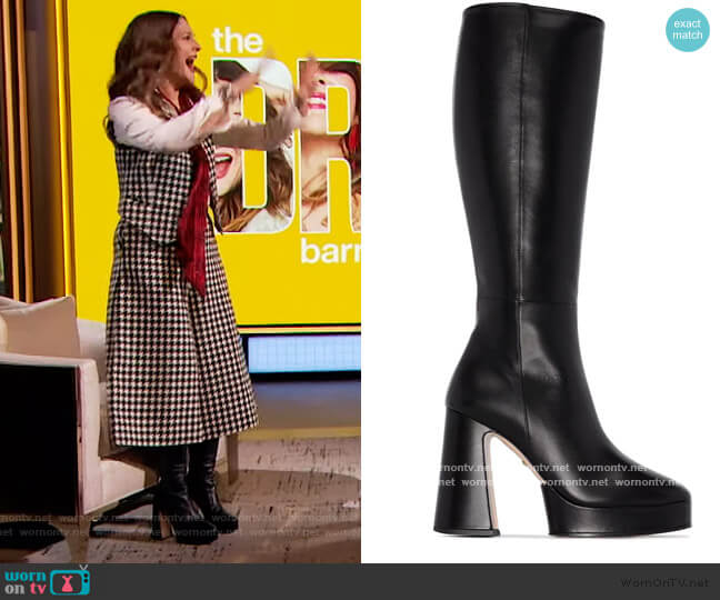 Black Leather Knee-High Boots by Gucci worn by Drew Barrymore  on The Drew Barrymore Show