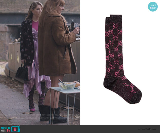 GG-intarsia cotton-blend lamé knee-high socks by Gucci worn by Katherine (Katherine Ryan) on The Duchess