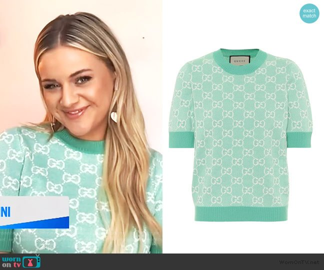 GG wool and cotton piqué sweater by Gucci worn by Kelsey Ballerini on E! News Daily Pop