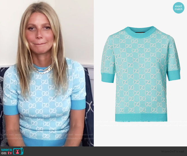 Monogrammed wool and cotton-blend knitted top by Gucci worn by Gwyneth Paltrow on The Drew Barrymore Show
