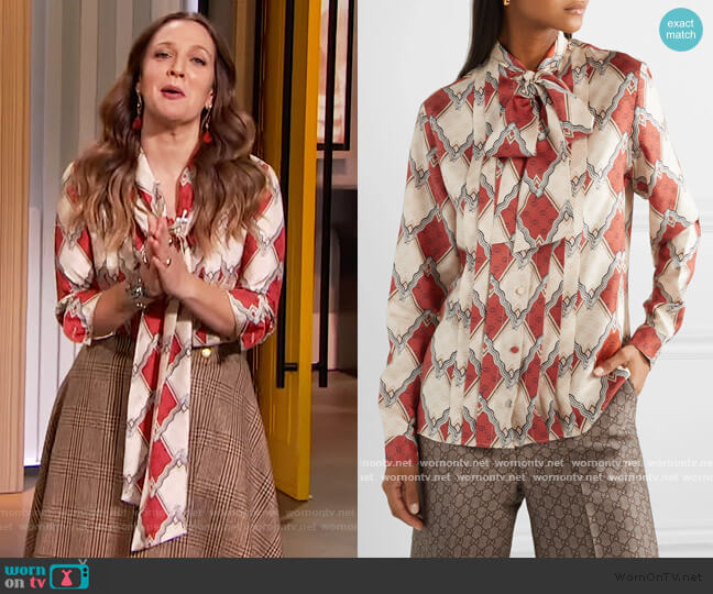 Pussy-bow pintucked printed silk-twill blouse by Gucci worn by Drew Barrymore  on The Drew Barrymore Show