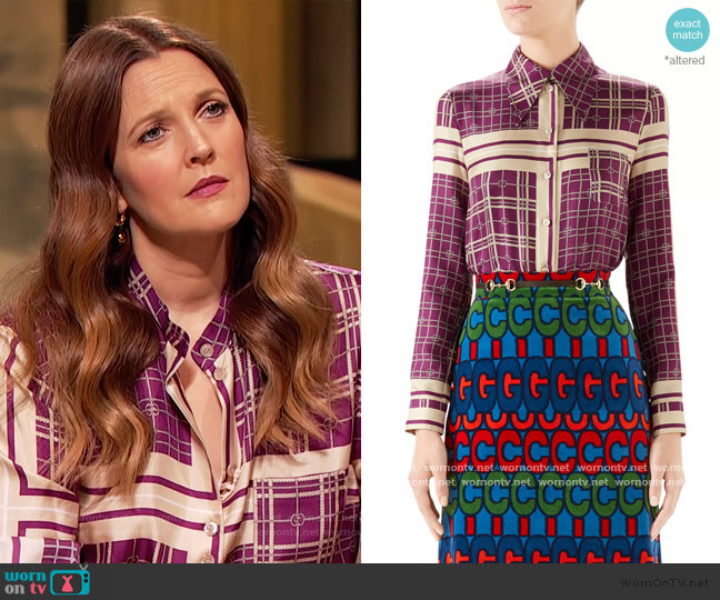 Silk Twill Rope Print Shirt by Gucci worn by Drew Barrymore  on The Drew Barrymore Show
