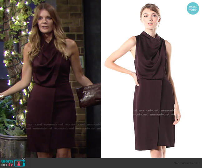Sleeveless Cowl Drape Satin Crepe Combo Dress by Halston worn by Phyllis Summers (Michelle Stafford) on The Young & the Restless