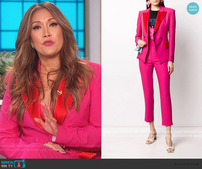 Two Tone Blazer and Pants by Hebe Studio worn by Carrie Inaba  on The Talk