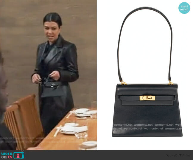 Kelly Mini Leather Handbag by Hermes worn by Kourtney Kardashian  on Keeping Up with the Kardashians