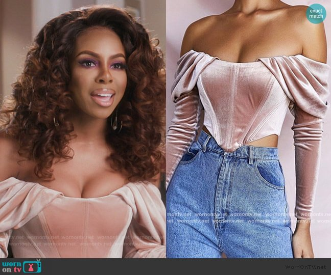 Pink Velvet Off Shoulder Top by House of CB worn by Candiace Dillard Bassett  on The Real Housewives of Potomac