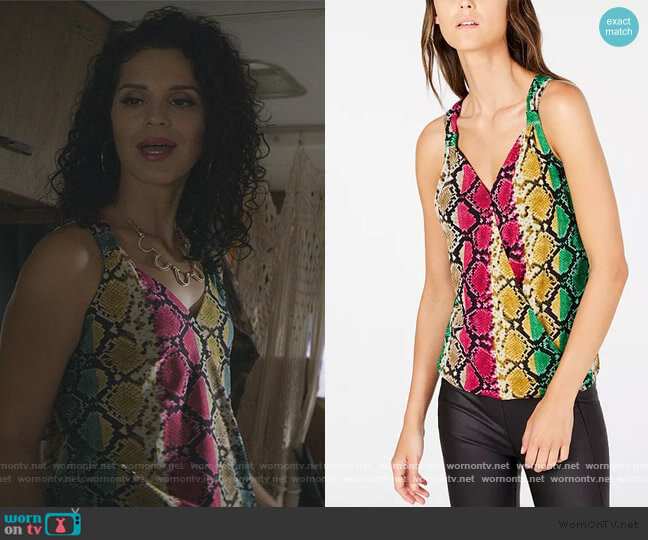 INC Snake-Embossed Surplice Tank Top by INC International Concepts worn by Yolanda Carrion (Shirley Rumierk) on Teenage Bounty Hunters