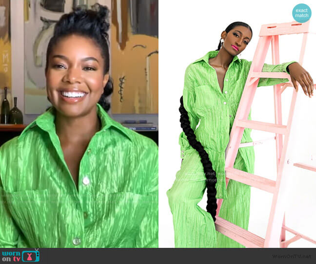 Tie Front Jumpsuit by Izayla worn by Gabrielle Union on GMA
