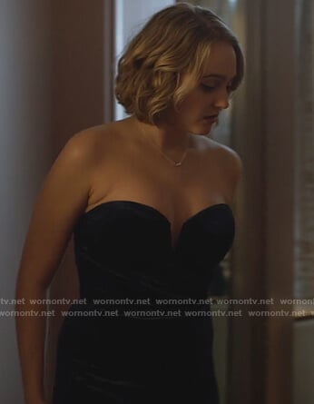 Izzy's blue velvet strapless dress on LA's Finest