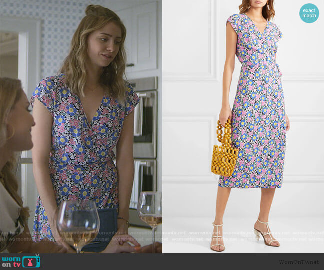 Fabrizia floral-print jersey wrap dress by J. Crew worn by Sterling Wesley (Maddie Phillips) on Teenage Bounty Hunters