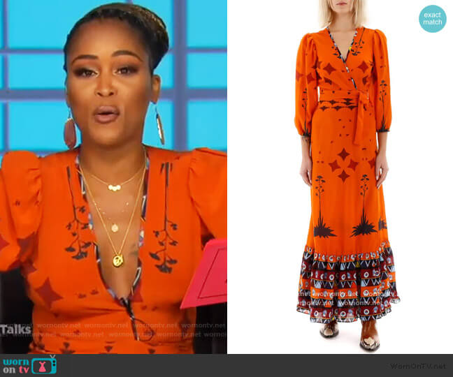 Printed Long Sleeve Dress by Jessie Western worn by Eve  on The Talk