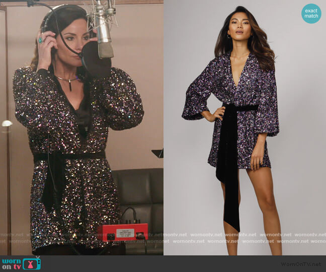Polly Sequin Wrap Mini Dress Jay Godfrey worn by Luann de Lesseps  on The Real Housewives of New York City
