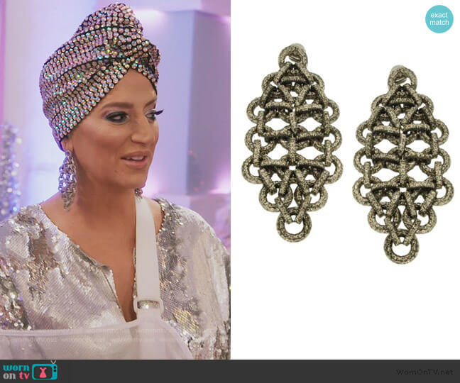 Sparkle Link Earrings by Jennifer Miller worn by Dorinda Medley  on The Real Housewives of New York City