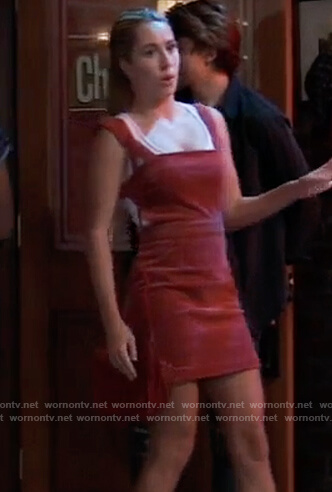 Josslyn's red corduroy mini dress on General Hospital