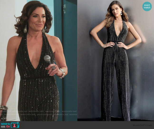 65051 Plunging Halter Jumpsuit by Jovani worn by Luann de Lesseps  on The Real Housewives of New York City