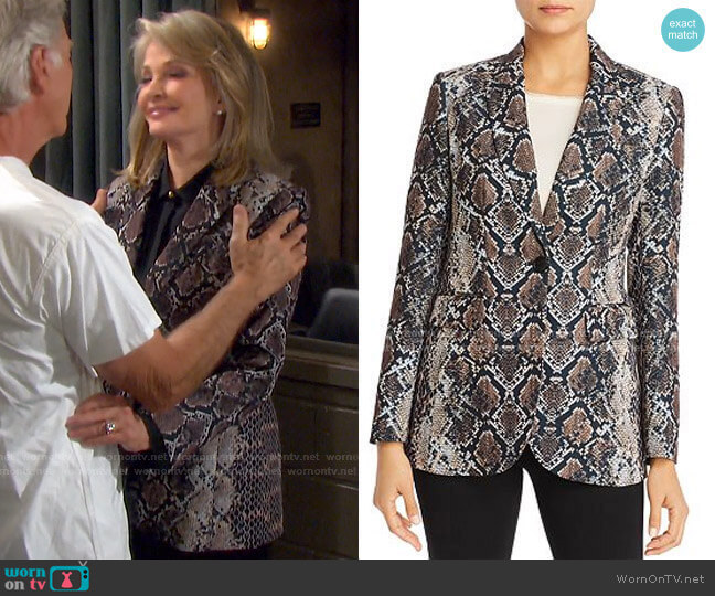 Jovanna Snakeskin-Print Blazer by Elie Tahari worn by Marlena Evans (Deidre Hall) on Days of our Lives