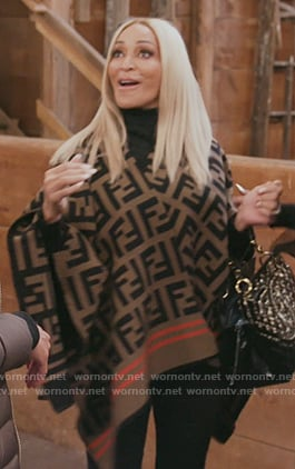 Karen's Fendi logo poncho on The Real Housewives of Potomac
