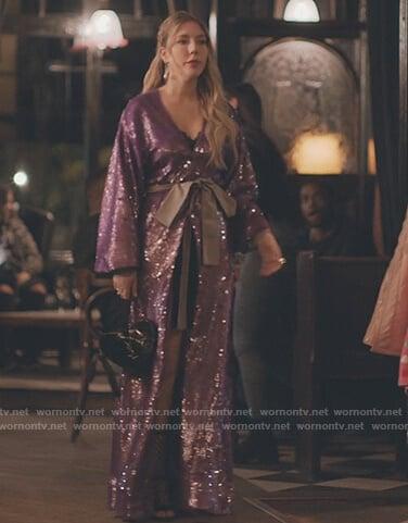 Katherine's purple sequin maxi dress on The Duchess