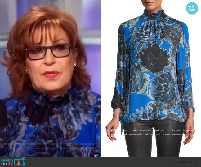 Eleni Silk Smocked Neck Blouse by Kobi Halperin worn by Joy Behar  on The View