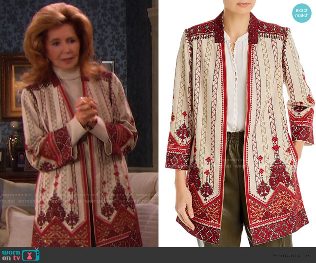 Embroidered Lexy Coat by Kobi Halperin worn by Maggie Horton (Suzanne Rogers) on Days of our Lives