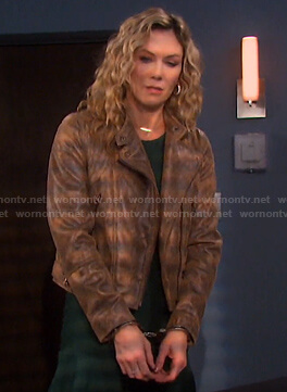 Krisnten's brown snake print jacket on Days of our Lives