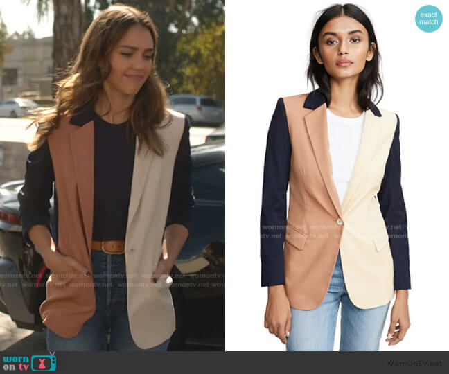 Colorblock Revelry Blazer by Laveer worn by Nancy McKenna (Jessica Alba) on LA's Finest