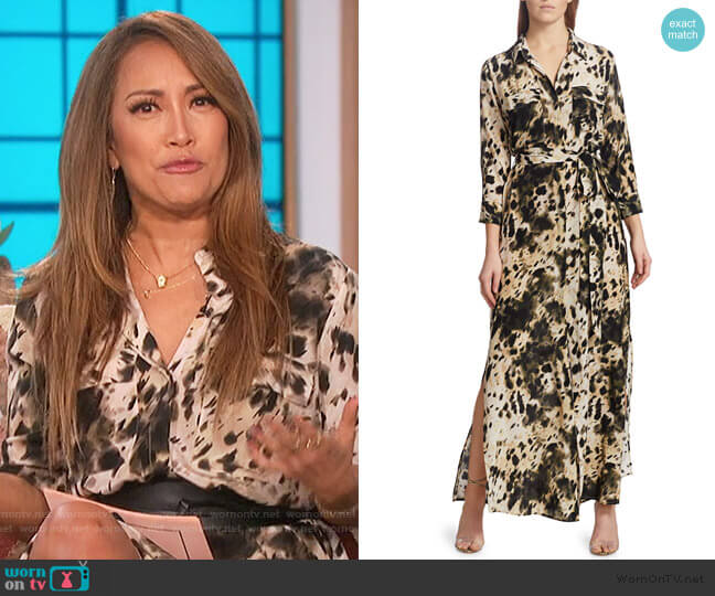Cameron Silk Printed Long-Sleeve Shirtdress by L'Agence worn by Carrie Inaba  on The Talk