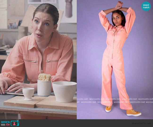 Dante Boilersuit Peach by L.F. Markey worn by Katherine (Katherine Ryan) on The Duchess
