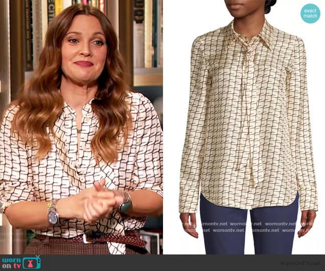 Diana Tie-Neck Silk Blouse by Lafayatte 148 worn by Drew Barrymore  on The Drew Barrymore Show