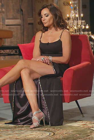 Luann's black embellished strap dress on The Real Housewives of New York City