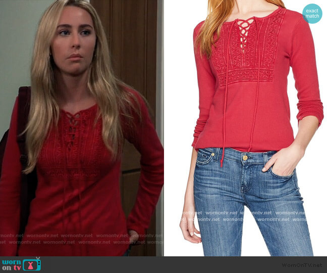 Crochet Lace Up Thermal Knit Top by Lucky Brand worn by Josslyn Jacks (Eden McCoy) on General Hospital