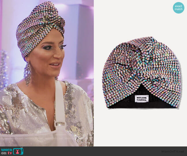Honore crystal-embellished stretch-cotton turban by Maryjane Claverol worn by Dorinda Medley  on The Real Housewives of New York City