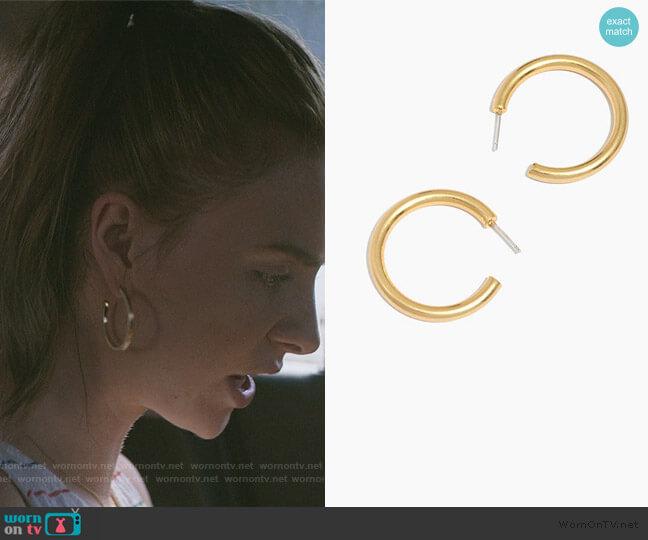 Chunky Medium Hoop Earrings by Madewell worn by Sterling Wesley (Maddie Phillips) on Teenage Bounty Hunters