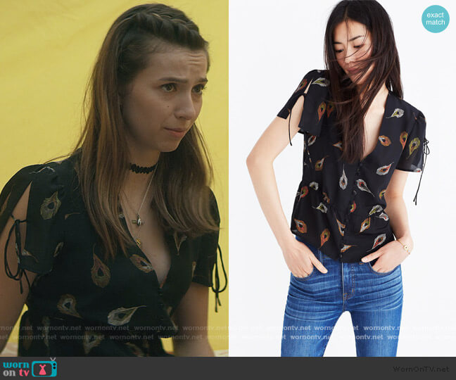 Silk Belle Top in Peacock Feathers by Madewell worn by Blair Wesley (Anjelica Bette Fellini) on Teenage Bounty Hunters