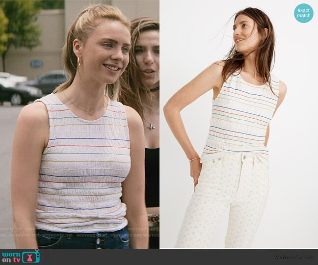 Texture & Thread Rainbow-Stitch Smocked Tank Top by Madewell worn by Sterling Wesley (Maddie Phillips) on Teenage Bounty Hunters