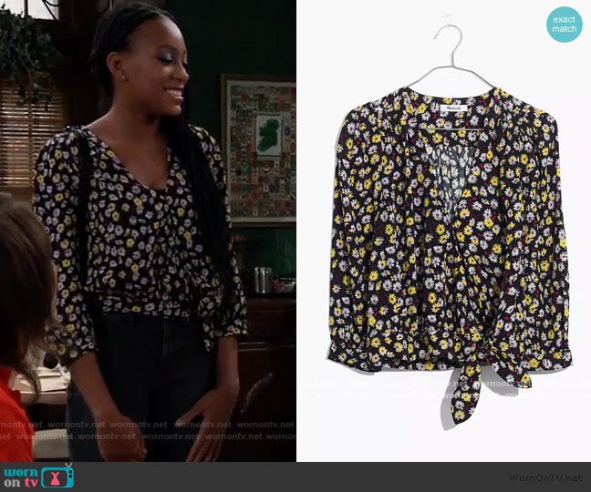 Wrap Top in French Floral by Madewell worn by Trina (Sydney Mikayla) on General Hospital