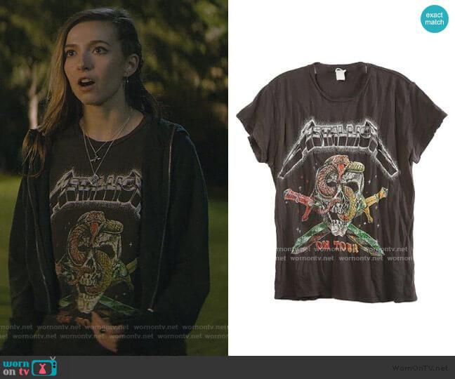 Metallica On Tour Tee by Madeworn worn by Blair Wesley (Anjelica Bette Fellini) on Teenage Bounty Hunters