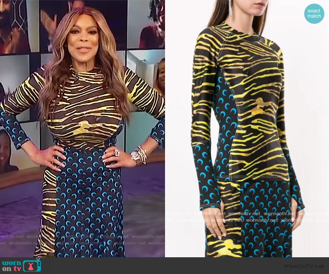 zebra-print long sleeve T-shirt and Skirt by Marine Serre worn by Wendy Williams  on The Wendy Williams Show